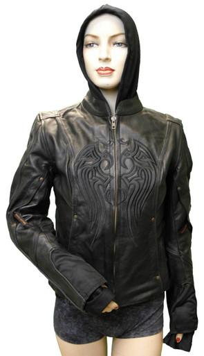 Ladies Leather Jacket W/Black Embroidery & Removable Sweatshirt