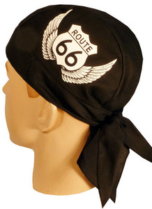 Skull Cap-Route 66 w/Wings on Black