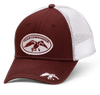 brown front panels and bill with white mesh back. White distressed patch with the full DC logo embroidered in brown. White duck embroidered on front, right bill.  fitted style does not have an adjustable option. One size fits most. 65% Cotton/ 35% Polyester