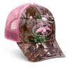 "Realtree AP Camo front panels and bill with pink, embroidered full DC logo. Pink, mesh  back with velcro closure and ""Duck Commander"" embroidered on closure."