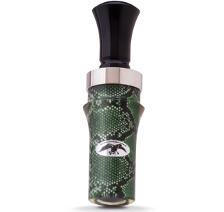 green snake skin, Acrylic duck call with aluminum band and black insert..