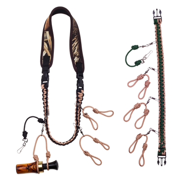 Neoprene neck band with braided removable strap containing double loops to hold both ends of duck calls.