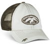 """Putty front panels and bill, olive mesh back Made of 55% cotton and 45% polyester Twill, distressed patch on the center front displays the Duck Commander logo Duck Commander duck hit design on the back Hook-and-loop closure decorated with the words """"Arise, Kill, Eat"""""""