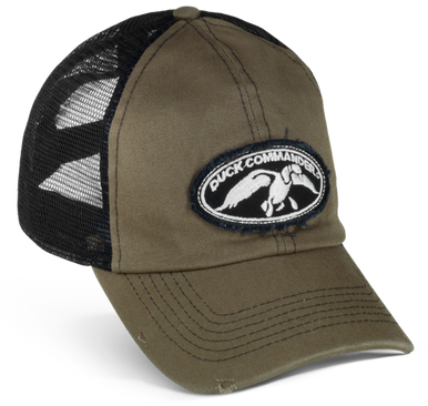 """Olive front panels and bill with black, mesh back and distressed black and white duck commander logo patch on the front panels. """"Duck Commander"""" embroidered on the velcro closure."""