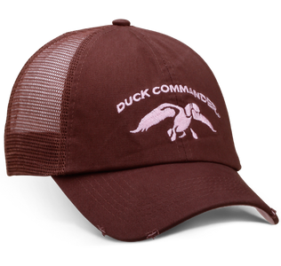"Brown, solid front panel and bill with Brown, mesh back and velcro closure. Pink Duck Commander logo embroidered on the front panels and ""Duck Commander"" on the back closure."