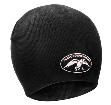 Black Knit Beanie 80% cotton 20% acrylic Embroidered Duck Commander Logo One size fits most Comfortable and warm fit