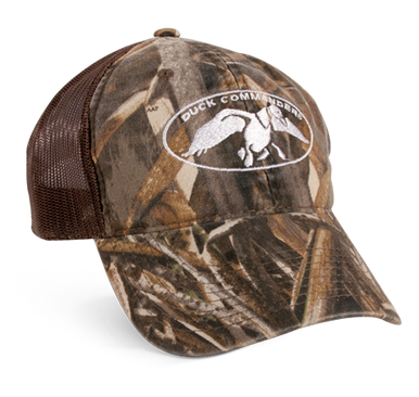 Realtree® Extra Camo front panel and bill with brown, mesh back and velcro closure. Full DC logo embroidered in white on front panels.