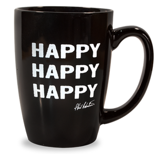 Happy Happy Happy Black Latte Mug