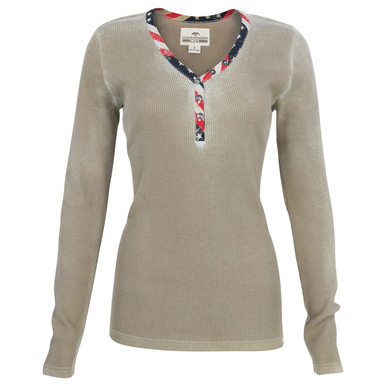 Tan, spray washed Long sleeve thermal henley 99% Cotton, 1% Polyester Printed American flag placket Canvas Duck tab
