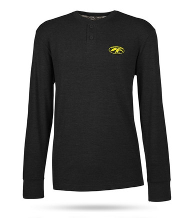 Black, collarless men's pullover with 3 buttons and the full DC logo in yellow on the front left chest.