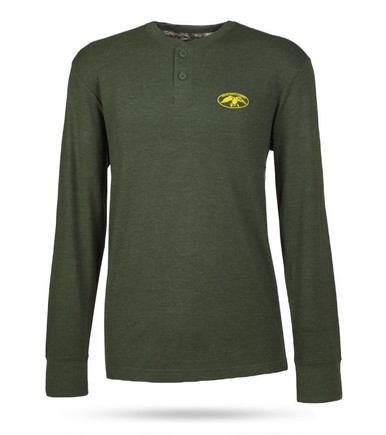 Olive, collarless men's thermal with 3 top buttons and the full DC logo in yellow on the front left chest.
