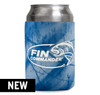 Blue Realtree Fishing pattern neoprene can cooler with the Fin Commander logo screen printed in white.