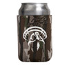 Realtree Original camo neoprene can cooler with the Strut Commander logo screen printed in white.