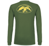 "Green, Long Sleeve Tee with yellow graphics 100% Cotton DC logo on back ""Duck Commander"" on left sleeve"