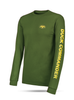 "Green, Long Sleeve Tee with yellow graphics 100% Cotton DC logo on front left chest ""Duck Commander"" on left sleeve"