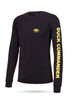 """Black long sleeve tee with yellow graphics 100% Cotton DC logo on front left chest """"Duck Commander"""" on left sleeve"""