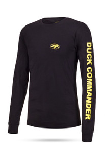 "Black long sleeve tee with yellow graphics 100% Cotton DC logo on front left chest ""Duck Commander"" on left sleeve"