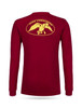 """Red, long sleeve tee with yellow graphics 100% Cotton DC logo on back """"Duck Commander"""" on left sleeve"""