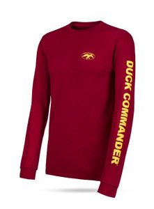 "Red, long sleeve tee with yellow graphics 100% Cotton DC logo on front left chest ""Duck Commander"" on left sleeve"