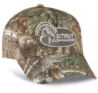 Realtree Edge, 6 panel hat with the Strut Commander logo embroidered on the front.