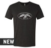 Black Heather, Tri-blend, crew cut, unisex tee with distressed Duck Commander logo screen printed in white on the front. 50% Poly 25% Combed Ring-Spun Cotton 25% Rayon.
