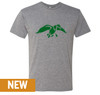 Premium Heather, Tri-blend Crew, Unisex tee with Green Duck logo design screen printed on front. 50% Poly 25% Combed Ring-Spun Cotton 25% Rayon