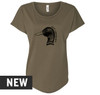 Military Green, loose fit Women's Dolman tee with Duck head illustration screen printed in black on the front. 60% Combed Ring-Spun Cotton 40% Polyester.