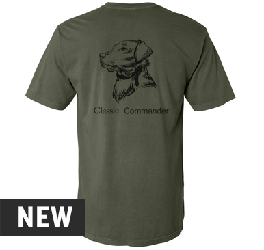 Sage, Comfort colors Midweight short sleeve tee with Duck logo screen printed in black on the front and Dog head illustration screen printed in black on the back. 100% combed ringspun cotton, pre-shrunk, soft-washed, garment-dyed fabric.