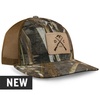 Cotton twill, Realtree Max 5 camouflage front panels and visor. Tan leather patch etched with duck guns graphic sewn on the front. Pre-curved PE visor with eight rows of stitching. Brown mesh back panels.