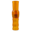 """Sheer, orange, polycarbonate short speck goose call made with a finger groove. Approximately 5""""."""