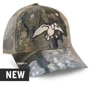 This cap features Realtree timber front panel and bill with a cream mesh back with black embroidery, a tan embroidered duck logo on the front and a wicking sweatband.