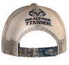cream mesh back with velcro closure and Black Realtree Timber logo embroidered in black.