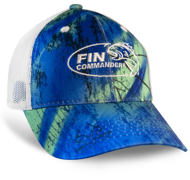 Color: Realtree™ Fishing Splash Fin Commander logo embroidered on front Realtree™ Fishing logo embroidered on back 100% Polyester Front Panels Mesh Back Panels Structured, Mid Crown D-fit Closure with Micro Hook/Loop Tape Q3® Wicking Sweatband Front and Back Logos: Flat Stitch