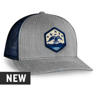 cd698dbe77472 Richardson 112 Snapback Color  Heather Grey Navy Embroidered patch on front Duck  Commander wordmark