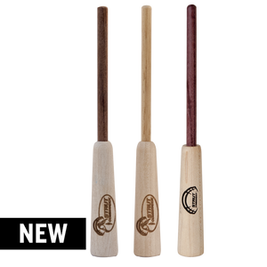 3 pack of wood strikers: one made of Cocobolo and birch, one made of Birch and Hickory and one made of Maple and Purple Heart wood.