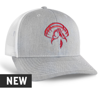 Richardson 112 hat, Color: Heather Grey with White Mesh, Red Embroidered Turkey Logo on front panels, Cotton twill front panels and visor with mesh back panels, ProCrown with buckram-fused front panels and ProStitching, Pre-curved PE visor with eight rows of stitching
