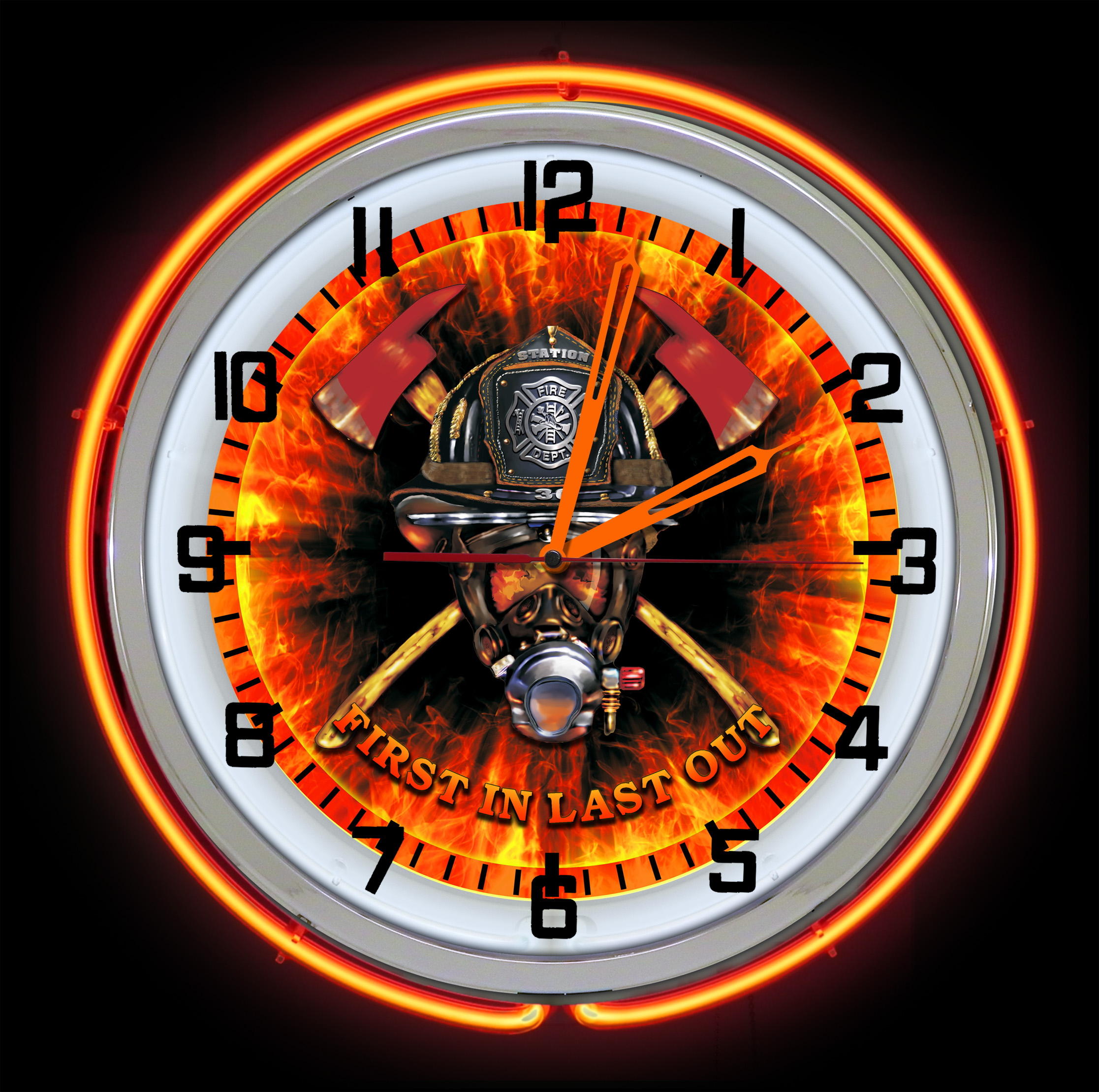 Firefighter Neon Clock