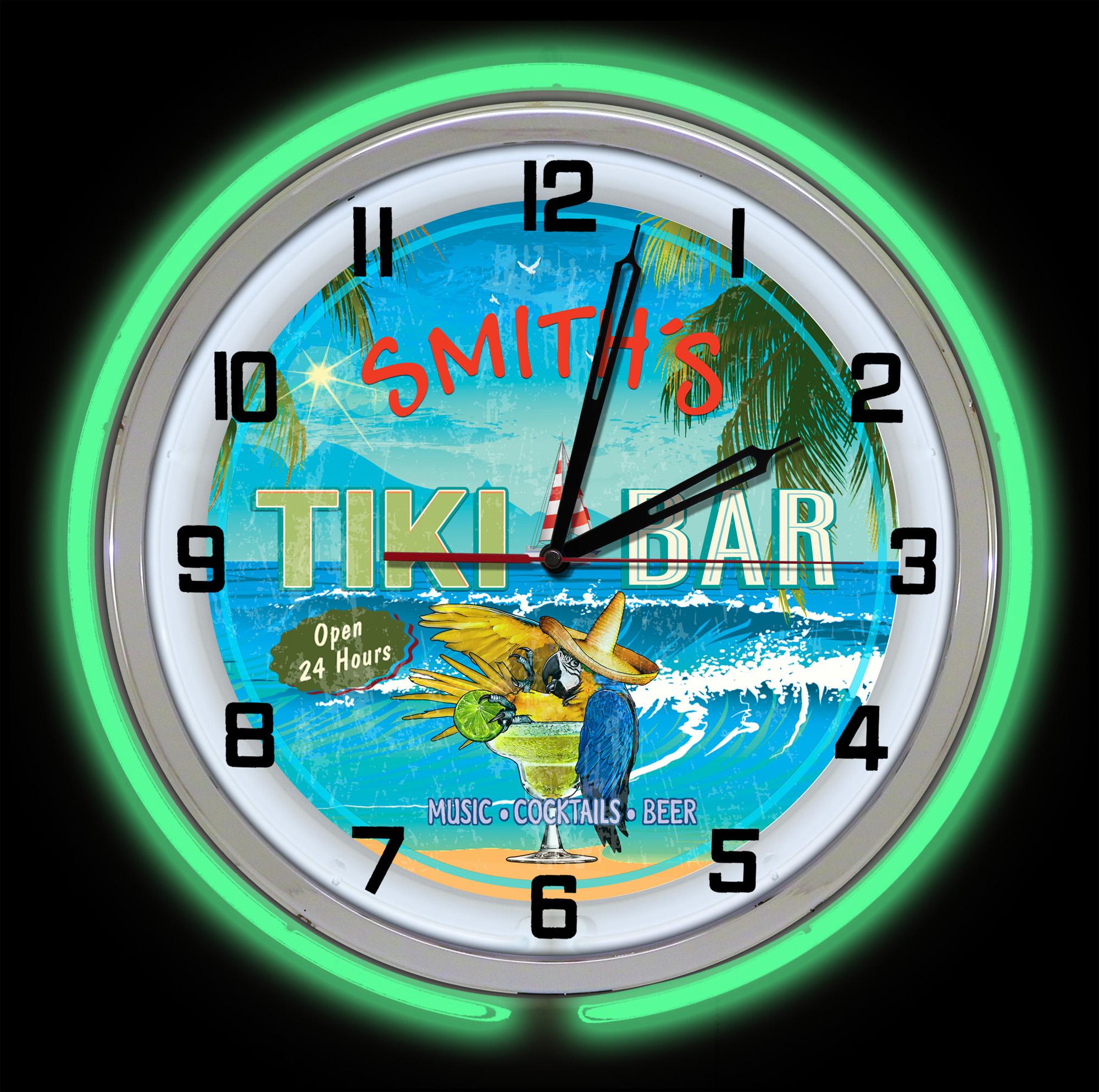 Tiki Neon Clock