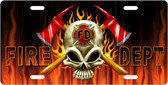 Firefighter Skull License Plate Tag