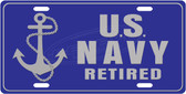 Retired US Navy License Plate Tag