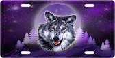 Moon Wolf License Plate Tag