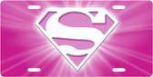 Superwoman Pink License Plate Tag