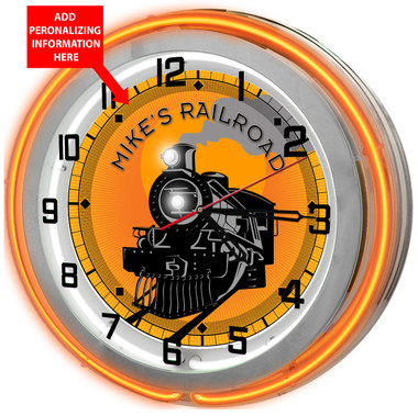 """Large 18"""" Personalized Locomotive Train Room Clock with Orange Neon Outer Ring"""