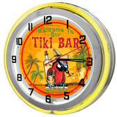"Large 18"" Paradise Tiki Bar Clock with Yellow Neon Outer Ring"
