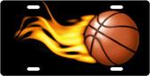Flaming Basketball License Plate Tag