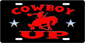 Cowboy UP License Plate Tag