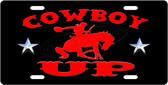 Cowboy UP License Plate Tag