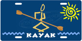 Kayaker Blue License Plate Tag