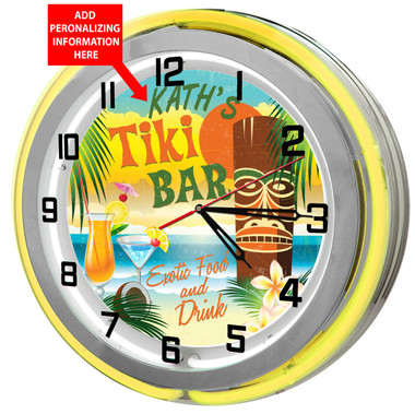 Personalized Tiki Bar Clock sign with Yellow outer ring