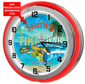 Personalized Parrot Tiki Bar Clock sign with Red outer ring